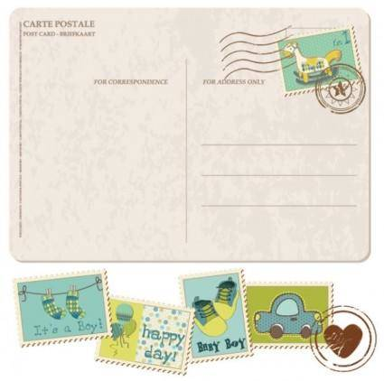 free vector Postcard with cartoon stamps 02 vector