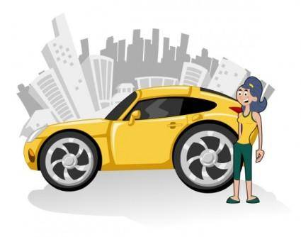 Cute cartoon characters and car 03 vector