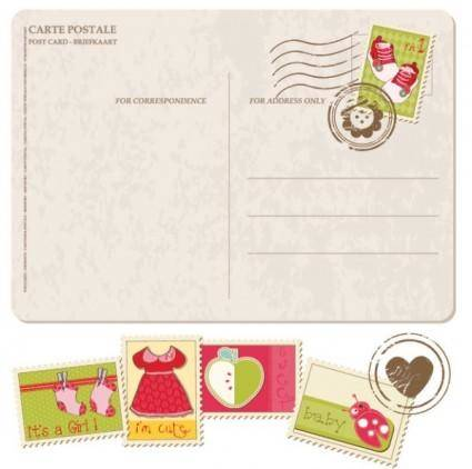 Postcards stamps with cartoon 01 vector