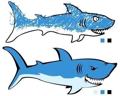 free vector 2 sharks