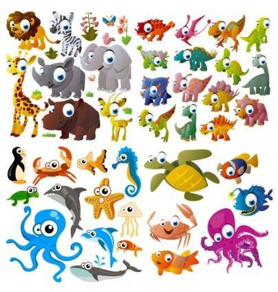 free vector Cute cartoon animals vector
