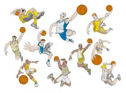 free vector Basketball cartoon characters vector