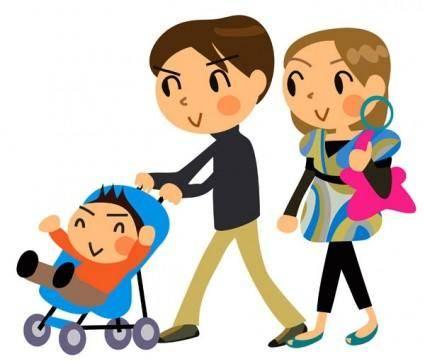 free vector Cartoon a family of three vector