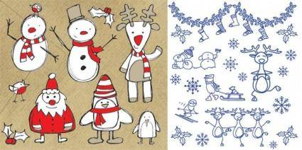 free vector Christmas vector cute cartoon