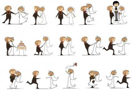 free vector Cartoonstyle wedding elements 06 vector