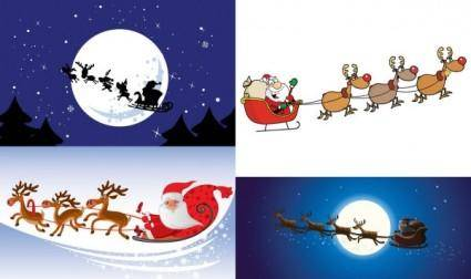 free vector Cartoon santa claus and elk vector