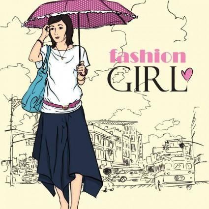 free vector Cartoon fashion beauty 05 vector