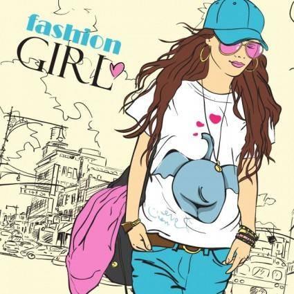 Cartoon fashion beauty 02 vector