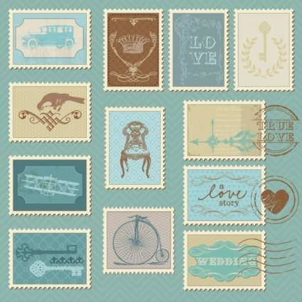 Cartoon illustration stamp 05 vector