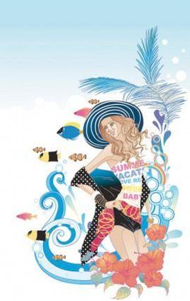 Beautiful cartoon fashion crush 05 vector