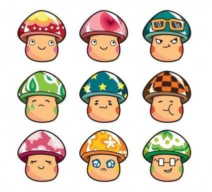 free vector Cartoon Mushrooms Vector Set