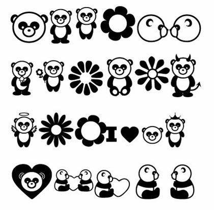 Free Vector Cartoon Pandas