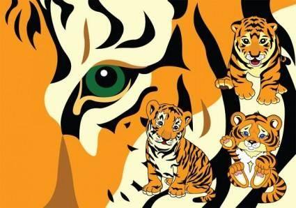 Cute little tiger vector