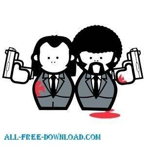 free vector Free Pulp Fiction Cartoon Vector Image