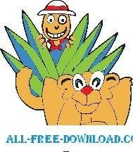 free vector Lion and Hunter
