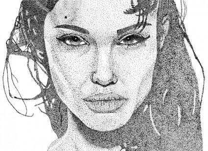 free vector Angelina Jolie Stipple Art Vector