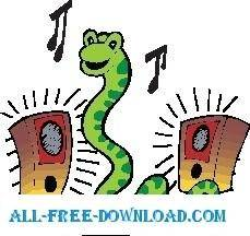 free vector Snake Listening to Music