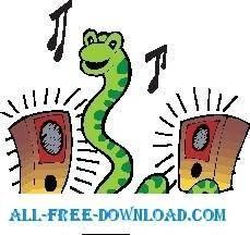 Snake Listening to Music