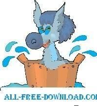 free vector Horse Bathing