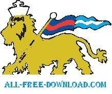 free vector Lion with Flag