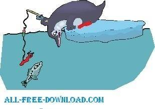 free vector Penguin Fishing 2