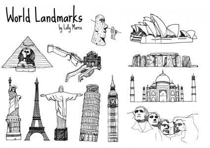 free vector Free Hand Drawn World Landmark Vectors!!!
