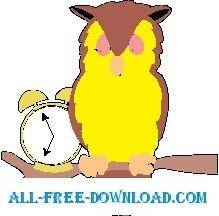 free vector Owl with Alarm Clock
