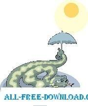 free vector Snake with Umbrella