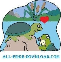 free vector Turtles in Love