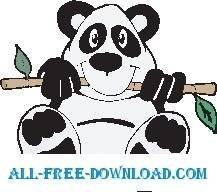 free vector Panda and Bamboo