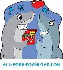 free vector Sharks in Love