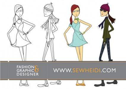 free vector Outfitted Female Fashion Sketch Vectors