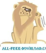 free vector Lion Scratching
