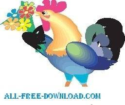 free vector Rooster with Flowers