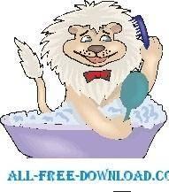 free vector Lion in Bathtub