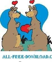 free vector Kangaroos in Love