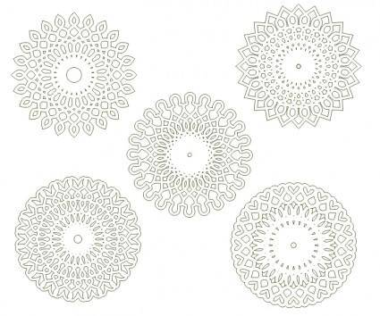 free vector Circular arabesques v1