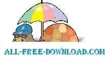 free vector Turtle with Umbrella