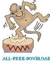 free vector Monkey Dancing on Drum