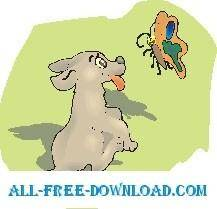 free vector Puppy and Butterfly 2