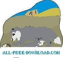 free vector Wolves Eating Fish