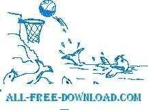 free vector Seals Playing Basketball