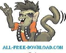 free vector Monkey Rock Star