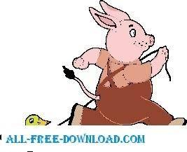 free vector Rabbit Pulling Duck Toy