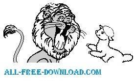 free vector Lion and Lamb
