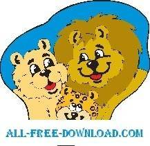 free vector Lions with Cub