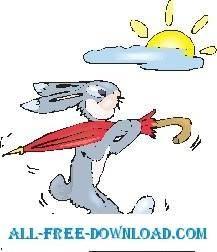 free vector Rabbit Carrying Umbrella