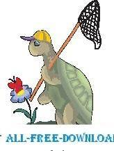 free vector Turtle Catching Butterfly