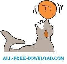 free vector Seal Playing with Ball