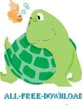 free vector Turtle and Fish